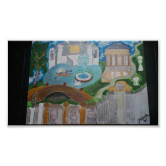 Poster del arte de los jardines de la fantasía de