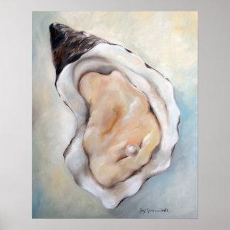Poster del arte de los mariscos de la playa de la