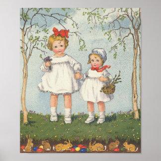 Poster del arte de Pascua del vintage