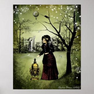 Poster del arte de Steampunk - al final del día
