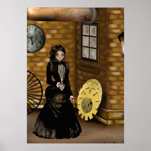 Poster del arte de Steampunk que busca para la cal