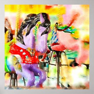 """Poster del arte del caballo del carrusel """"venido"""