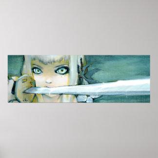 Poster del arte del chica de Ninja del cardo de le