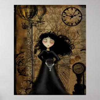 Poster del arte del chica del gótico de Steampunk