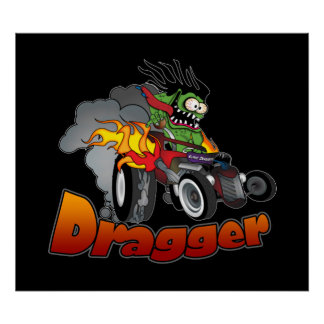 "Poster del arte del coche de carreras de ""Dragger"""