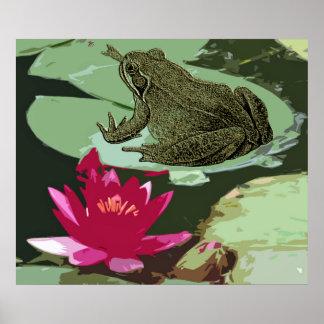 Poster del arte del cojín de la rana y de lirio