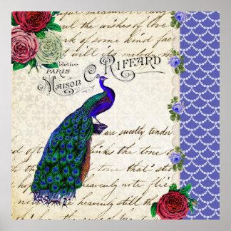 Poster del arte del collage del pavo real del vint