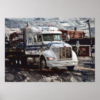 Poster del arte del conductor de camión blanco de