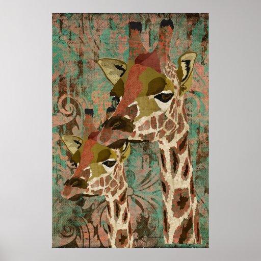 Poster del arte del damasco de las jirafas de Rosa