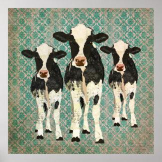Poster del arte del damasco de las vacas del ónix