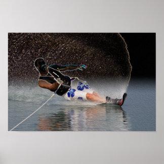 Poster del arte del esquí náutico del eslalom