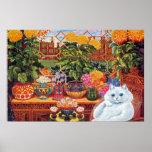 Poster del arte del gato del botánico de Louis Wai