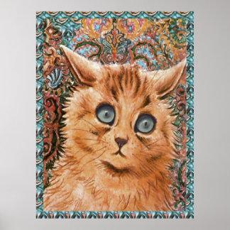 Poster del arte del gato del papel pintado de Loui