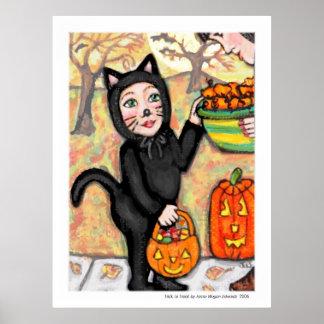 Poster del arte del gato del traje del truco o de