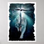Poster del arte del lobo y de la fauna de Eagle