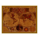 Poster del arte del MAPA de VIEJO MUNDO
