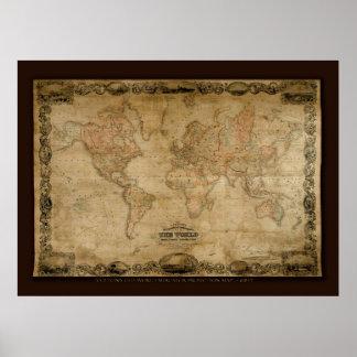 Poster del arte del mapa de Viejo Mundo de COLTONS