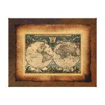Poster del arte del mapa de Viejo Mundo Impresión En Lona