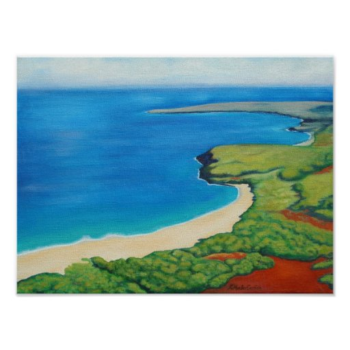Poster del arte del paisaje de Hawaii Molokai