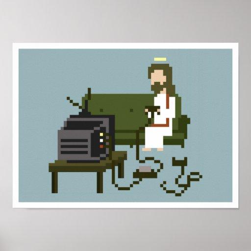 Poster del arte del pixel de Jesús del videojugado