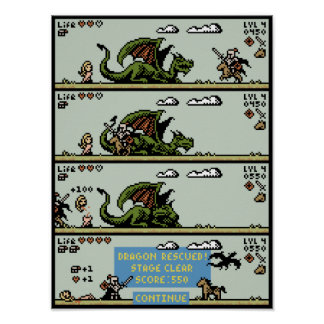 Poster del arte del pixel del juego del rescate