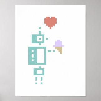 Poster del arte del pixel del robot del helado