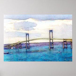 Poster del arte del puente de Newport
