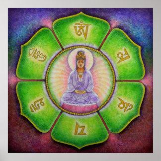 """Poster del arte del ronquido de Kuan Yin """"OM Mani"""