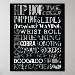 Poster del arte del subterráneo de la danza de Hip