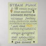 Poster del arte del subterráneo de Steampunk