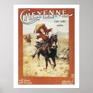 Poster del arte del vintage de Cheyenne de la canc