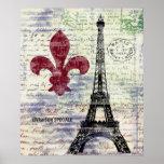 Poster del arte del vintage de Francia de la torre