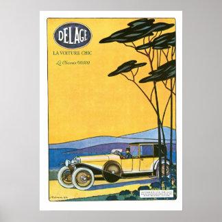Poster del arte del vintage del anuncio de Delage