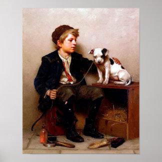 Poster del arte del vintage del muchacho y del per