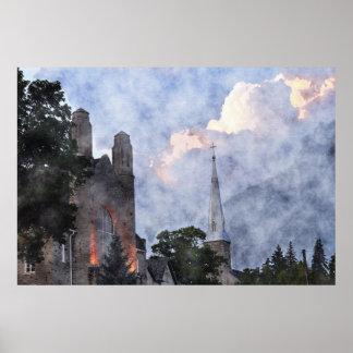 Poster del arte del Watercolour de las nubes de la