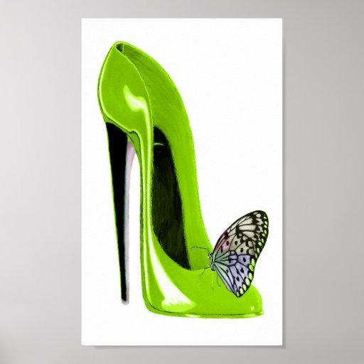 Poster del arte del zapato de la mariposa y del es