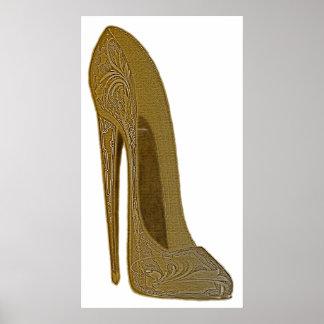 Poster del arte del zapato del estilete del vintag