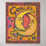 Poster del arte del zodiaco de los géminis