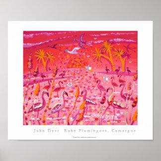 Poster del arte: Flamencos de rubíes, Camargue, Fr