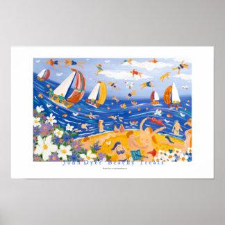 Poster del arte: Invitaciones con playas. Nadadore
