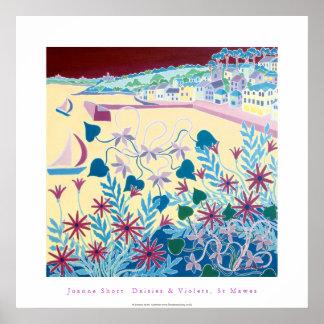 Poster del arte: Margaritas y violetas, St Mawes,