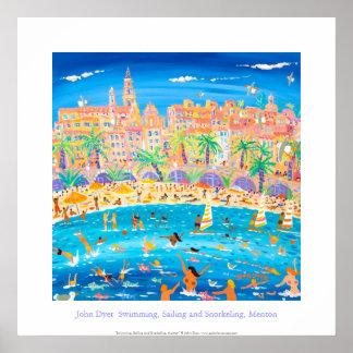 Poster del arte: Natación, navegación y el bucear,