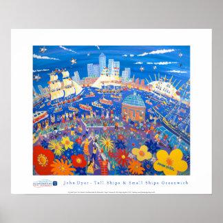 Poster del arte: Naves altas y pequeñas naves Gree