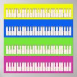 Poster del arte pop de cuatro teclados