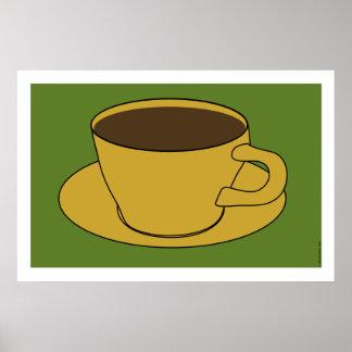 poster del arte pop de la taza de café de los años