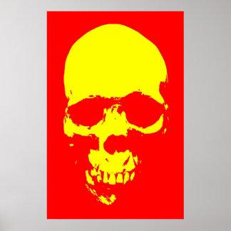 Poster del arte pop del cráneo - rojo y amarillo