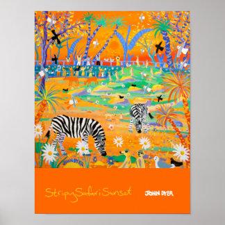 Poster del arte: Puesta del sol rayada del safari