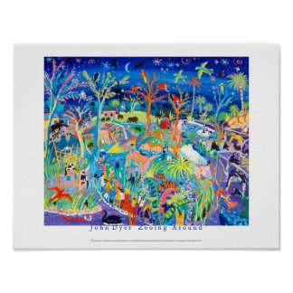 Poster del arte: Zooing alrededor. Parque zoológic
