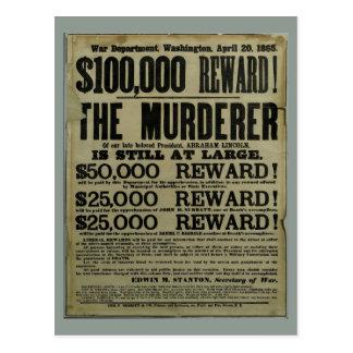 Poster del asesinato de John Wilkes Booth Lincoln Tarjeta Postal
