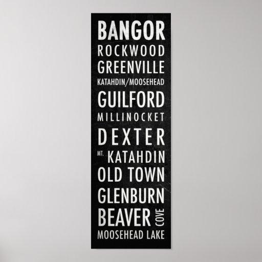 Poster del autobús de Maine - montañas